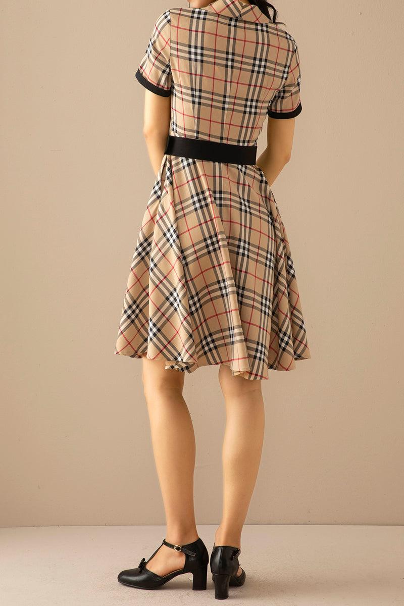 Load image into Gallery viewer, 1950s Plaid Swing Vintage Dress