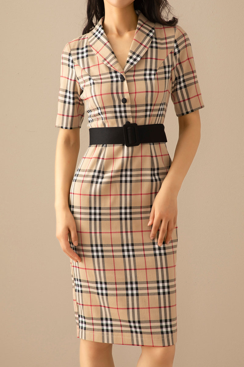 Load image into Gallery viewer, Vintage Lapel Collar Plaid Bodycon Dress