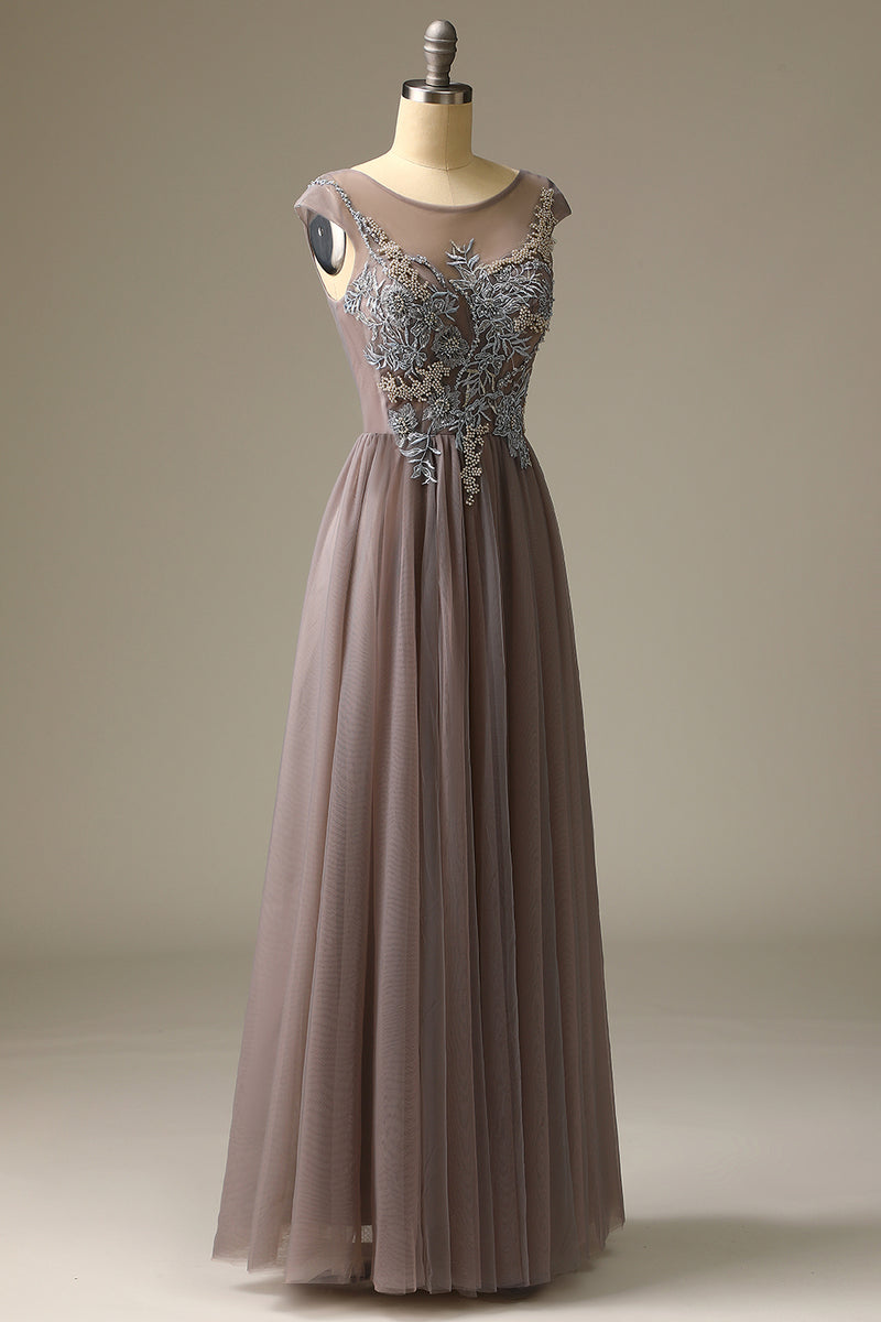Load image into Gallery viewer, Appliques Grey Prom Dress