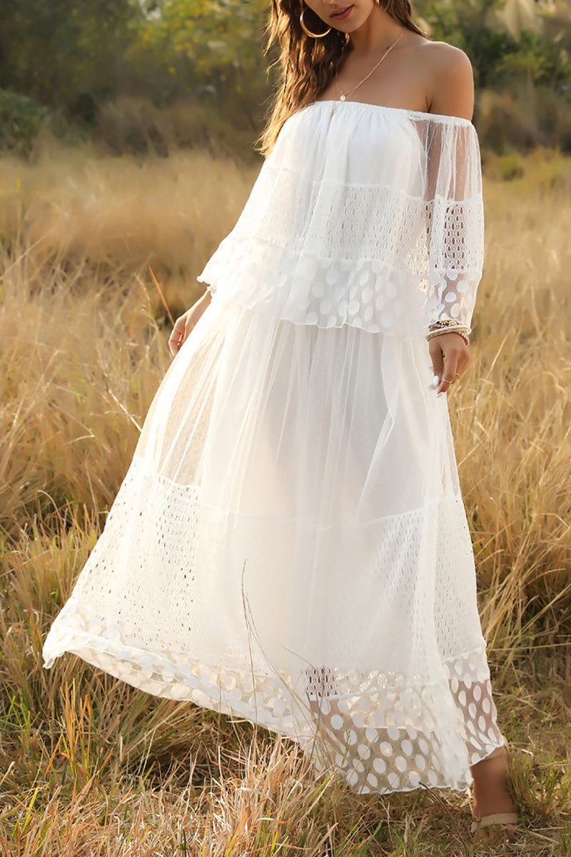 Load image into Gallery viewer, White Off Shoulder Boho Dress