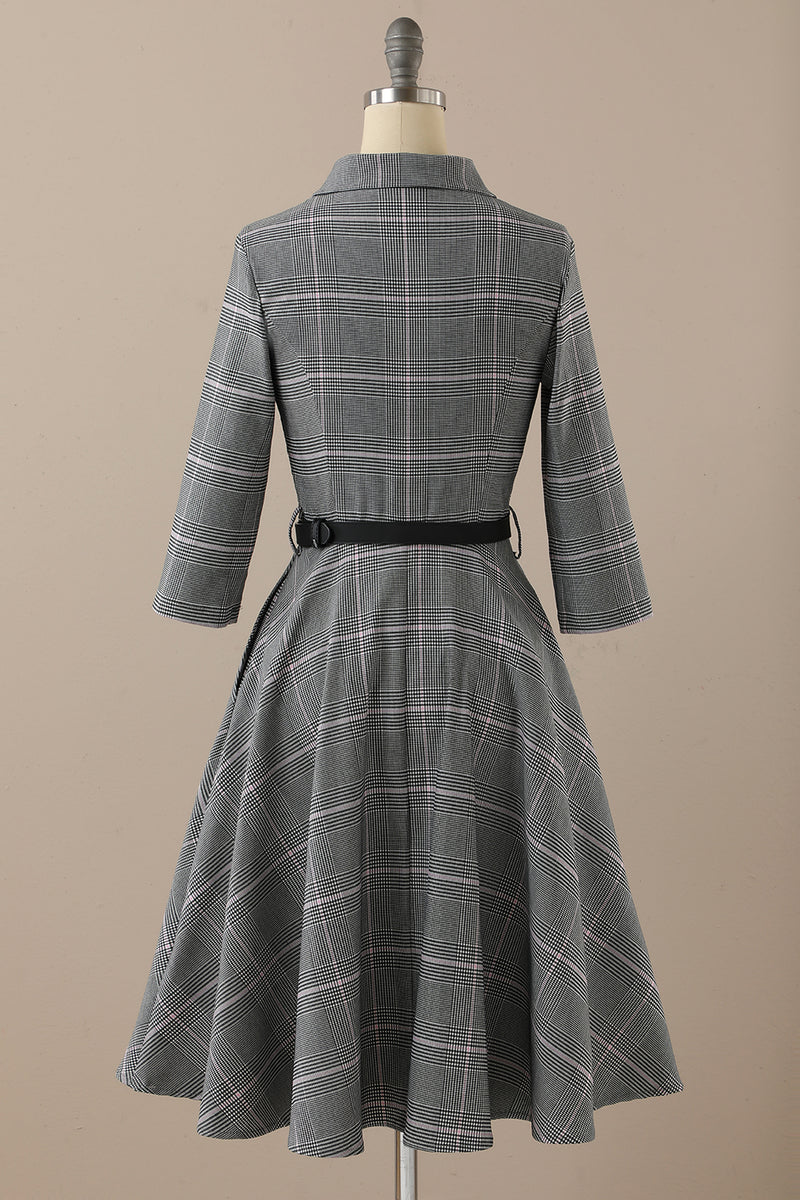 Load image into Gallery viewer, Retro Style Dark Grey Vintage Dress with Long Sleeves