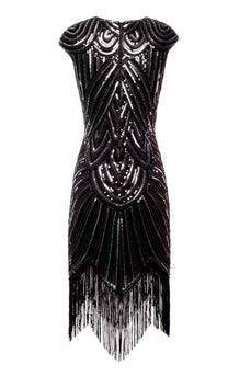 Black Gatsby Glitter Fringe 1920s Dress