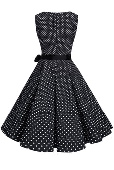 V Neck Dots 1950s Swing Dress