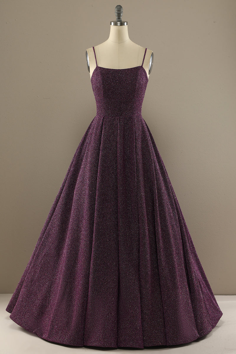 Load image into Gallery viewer, Charming A Line Purple Prom Dress with Split Front