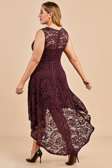 Plus Size Asymmetry Lace Party Dress