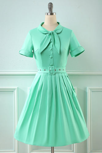 Retro Style Scoop Blue Vintage Dress