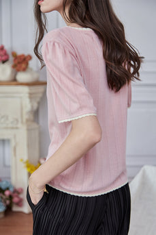 Pink Short Sleeves Knitted Top
