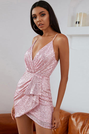 Pink Sequins Cocktail Dress
