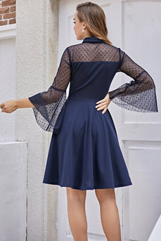 Navy Long Sleeves Vintage Dress