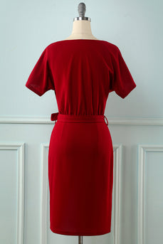 Burgundy Bodycon Vintage Dress