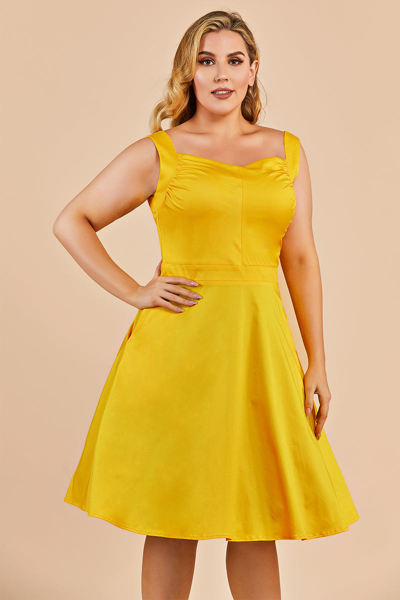 Load image into Gallery viewer, Plus Size Yellow 1950s Vintage Dress