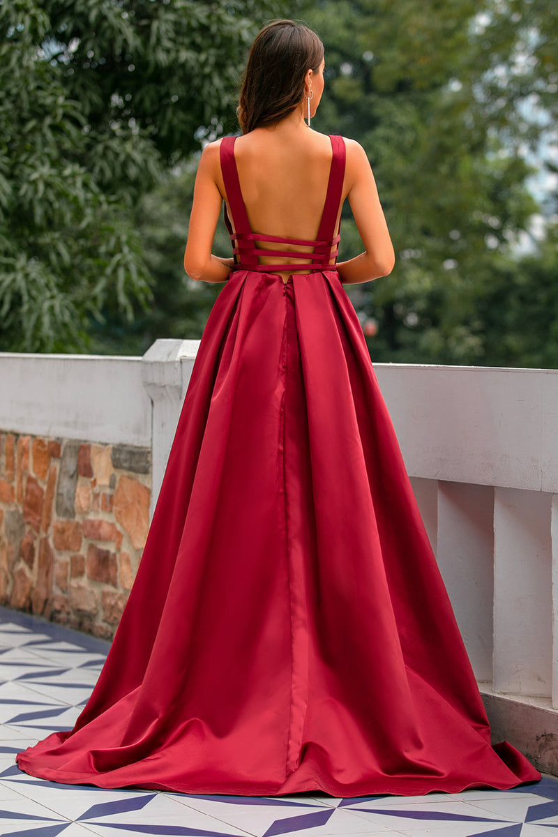 Load image into Gallery viewer, Burgundy Satin Prom Dress