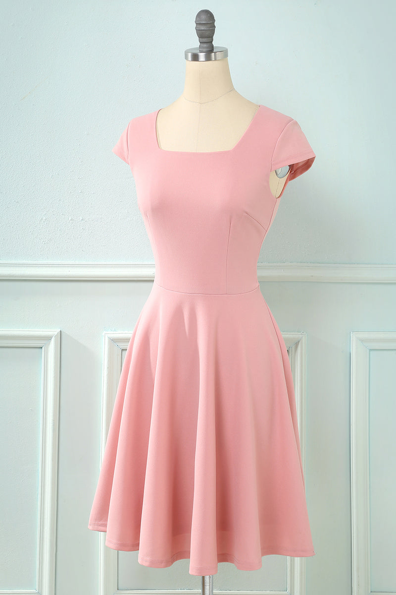 Load image into Gallery viewer, Square Neck Swing Vintage Dress