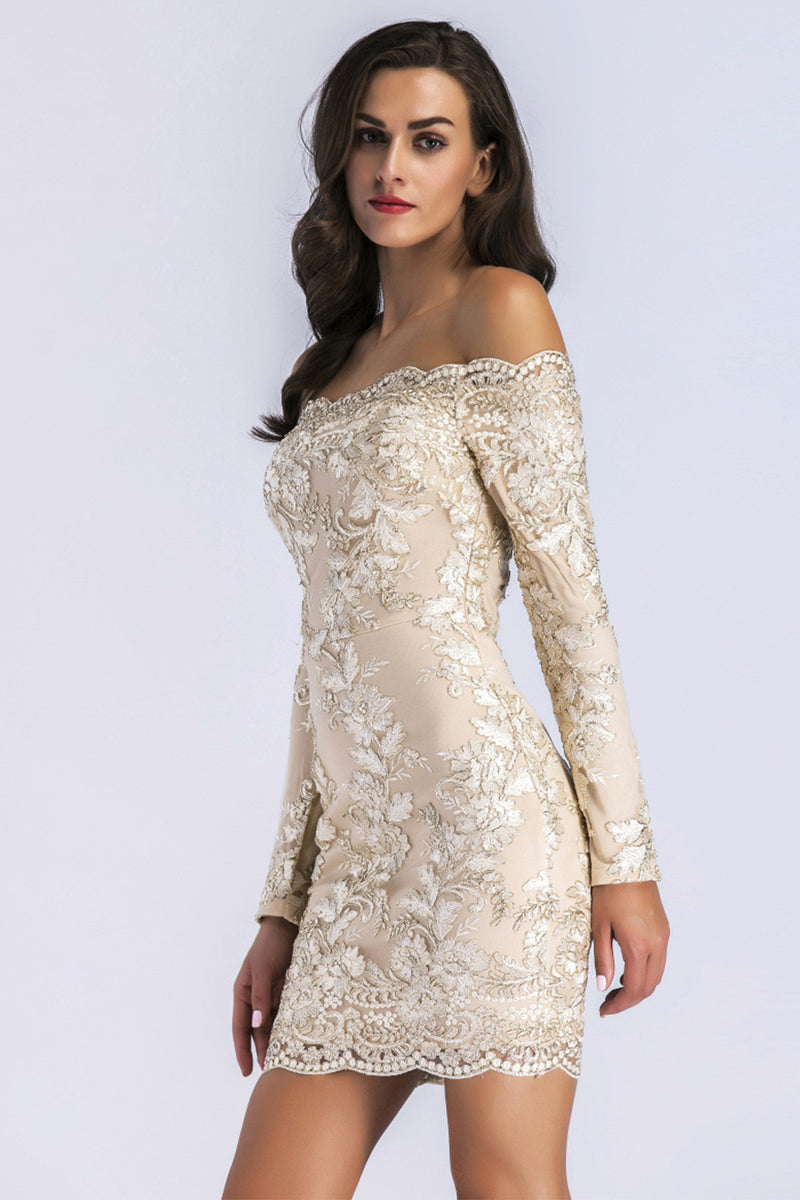Load image into Gallery viewer, Champagne Lace Long Sleeves Bodycon Dress