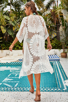 Floral Mesh Long White/Black Cover Up