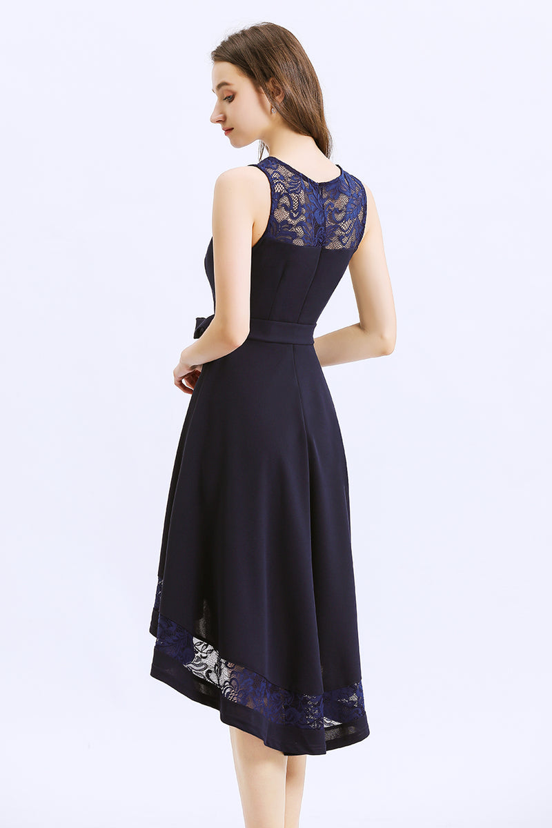 Load image into Gallery viewer, Asymmetrical Navy Dress