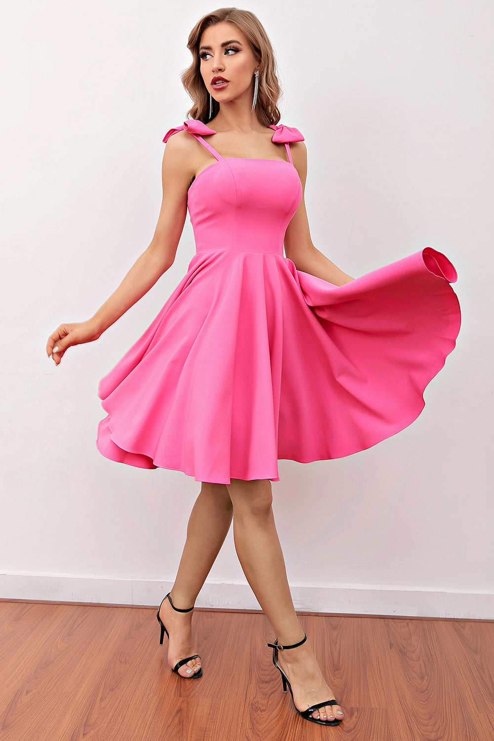 Pink Short Cocktail Dress with Bow