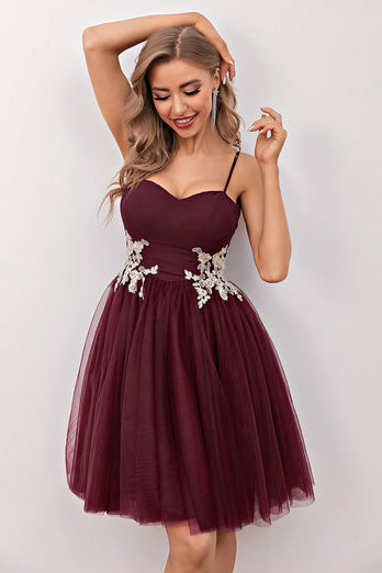 Burgundy Short Prom Homecoming Dress