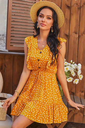 Batwing Sleeves Polka Dots Summer Dress
