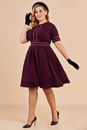 Vintage Plus Size Dress With Sleeves