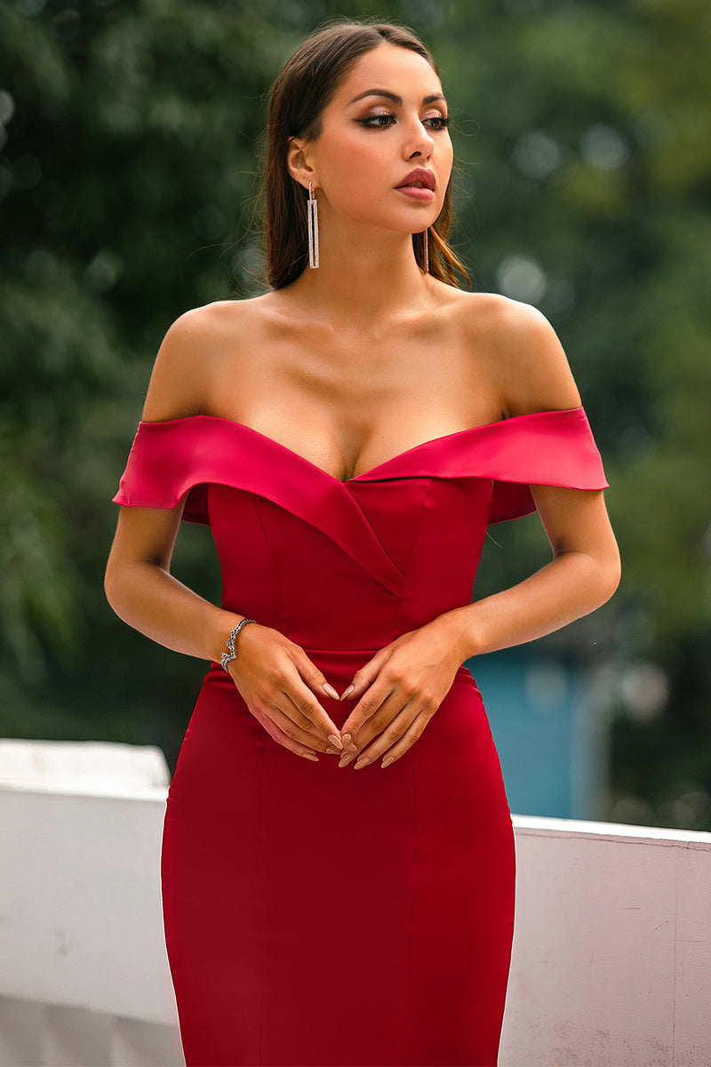 Load image into Gallery viewer, Red Off Shoulder Prom Dress