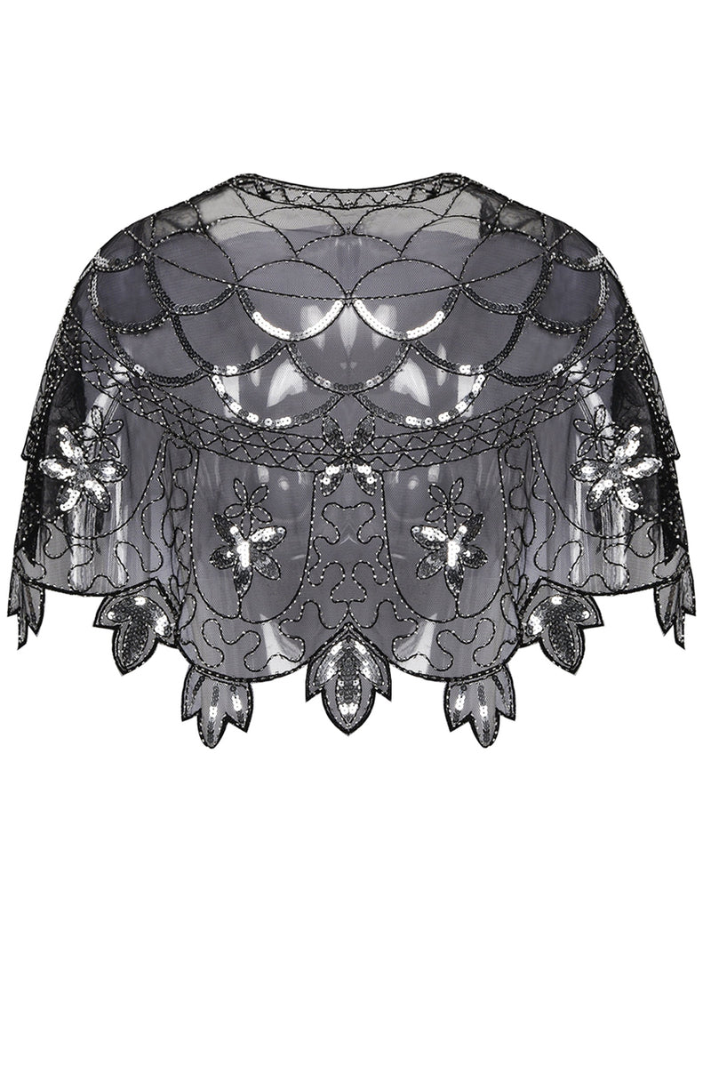 Load image into Gallery viewer, 1920s Black Flower Sequin Women Cape