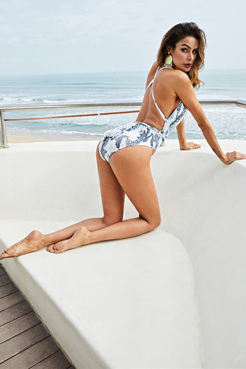 Grey Printed One Piece Swimsuits