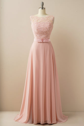 Applique Long Prom Dress