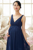 Load image into Gallery viewer, V neck Long Maternity Bridesmaid Dress