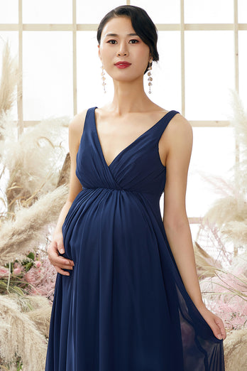 V neck Long Maternity Bridesmaid Dress