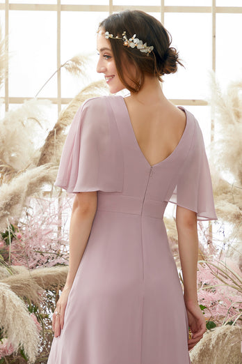 Blush Batwing Sleeves Chiffon Bridesmaid Dress