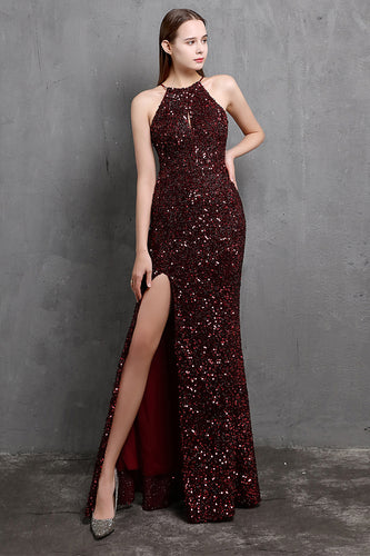 Burgundy Sequin Long Prom Dress with Slit