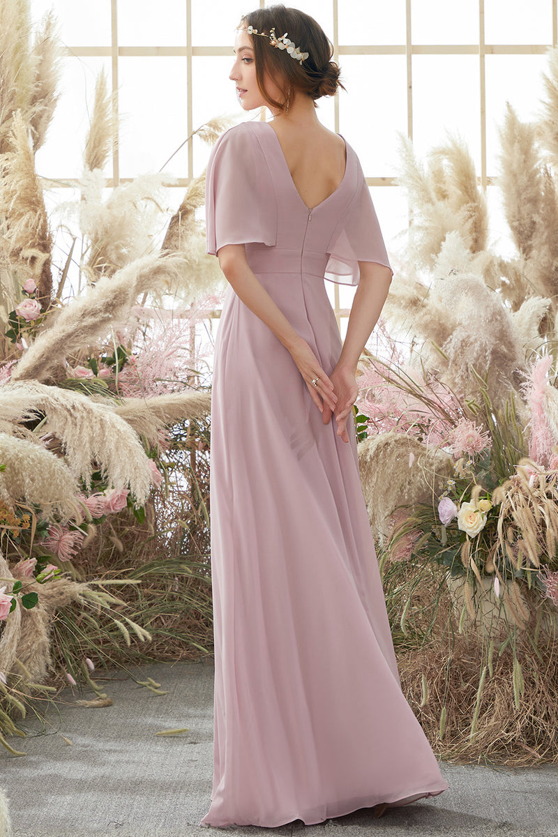 Load image into Gallery viewer, Blush Batwing Sleeves Chiffon Bridesmaid Dress