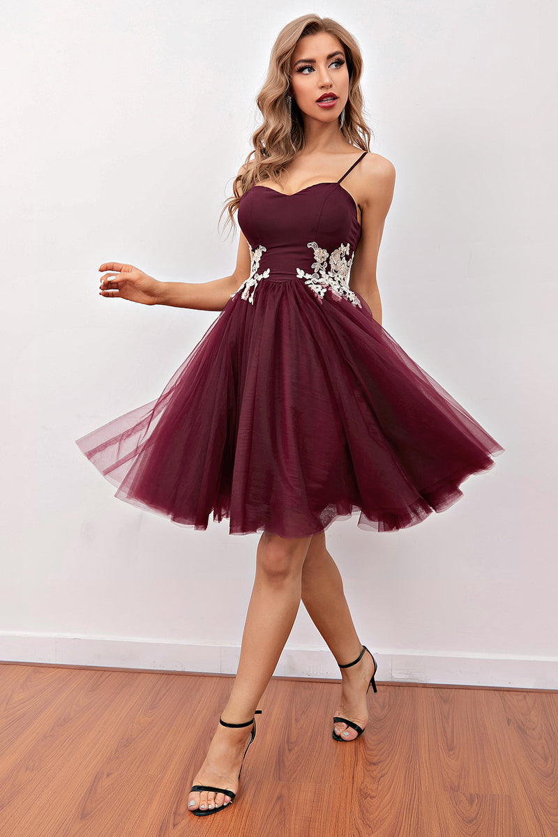 Load image into Gallery viewer, Burgundy Short Prom Homecoming Dress