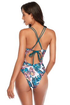 leaves Blue One Piece Swimsuit