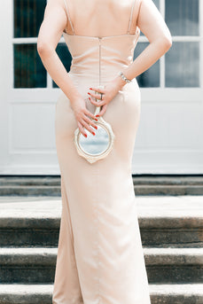 Dusty Pink Satin Prom Dress