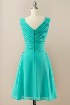 Green Chiffon Midi Bridesmaid Dress