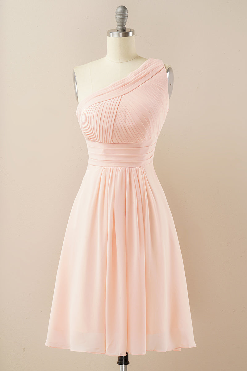 Load image into Gallery viewer, Chiffon One Shoulder Bridesmaid Dress