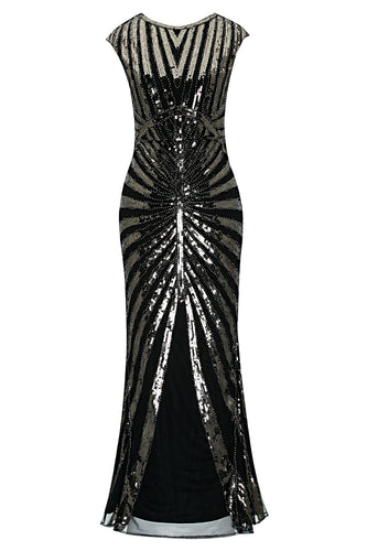 Black Mermaid 1920s Sequined Flapper Dress