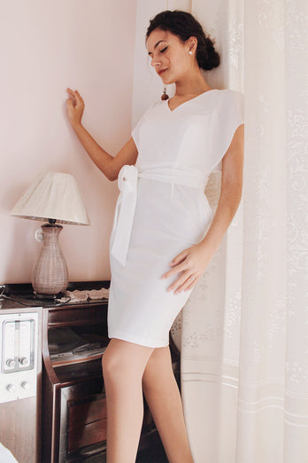 White Bodycon Dress With Sash