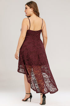 Burgundy High low Lace Plus Size Dress