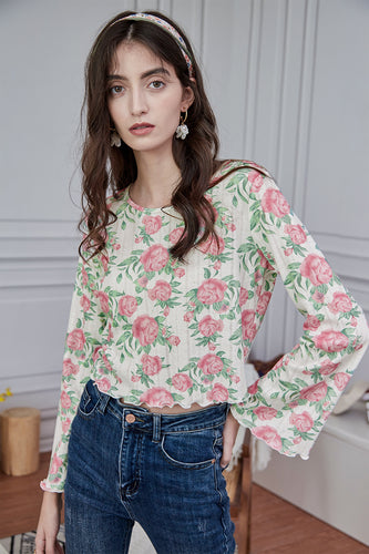 French Pastoral Small Fresh Flower Wood Ear Shirt