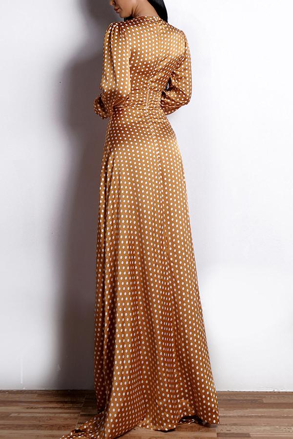 Load image into Gallery viewer, Polka Dots Long Sleeves Evening Dress