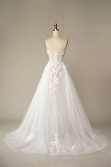 A Line Wedding Dress with Appliques