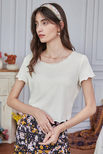 White Summer Knit Top