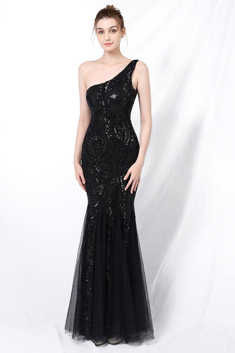 Mermaid One Shoulder Prom Dress with Appliques