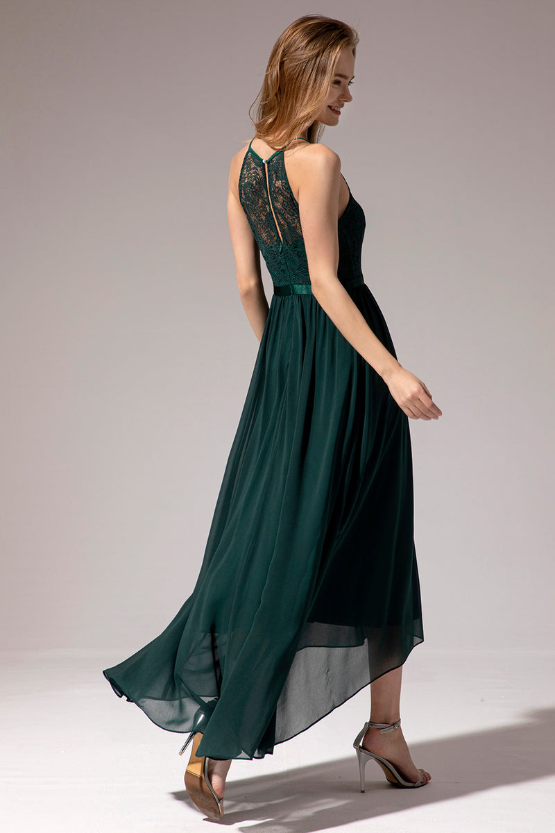 Load image into Gallery viewer, Dark Green Chiffon Lace Bridesmaid Dress