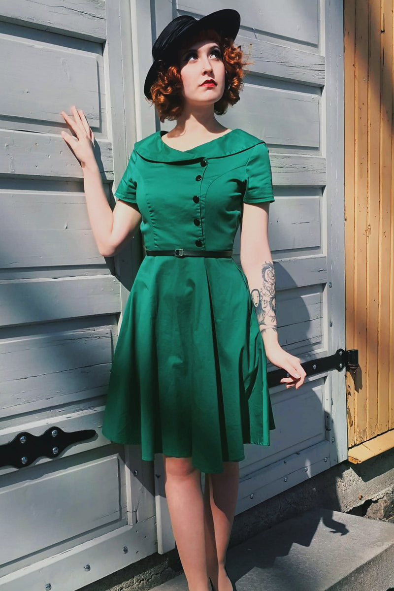 Load image into Gallery viewer, Green Button Dress