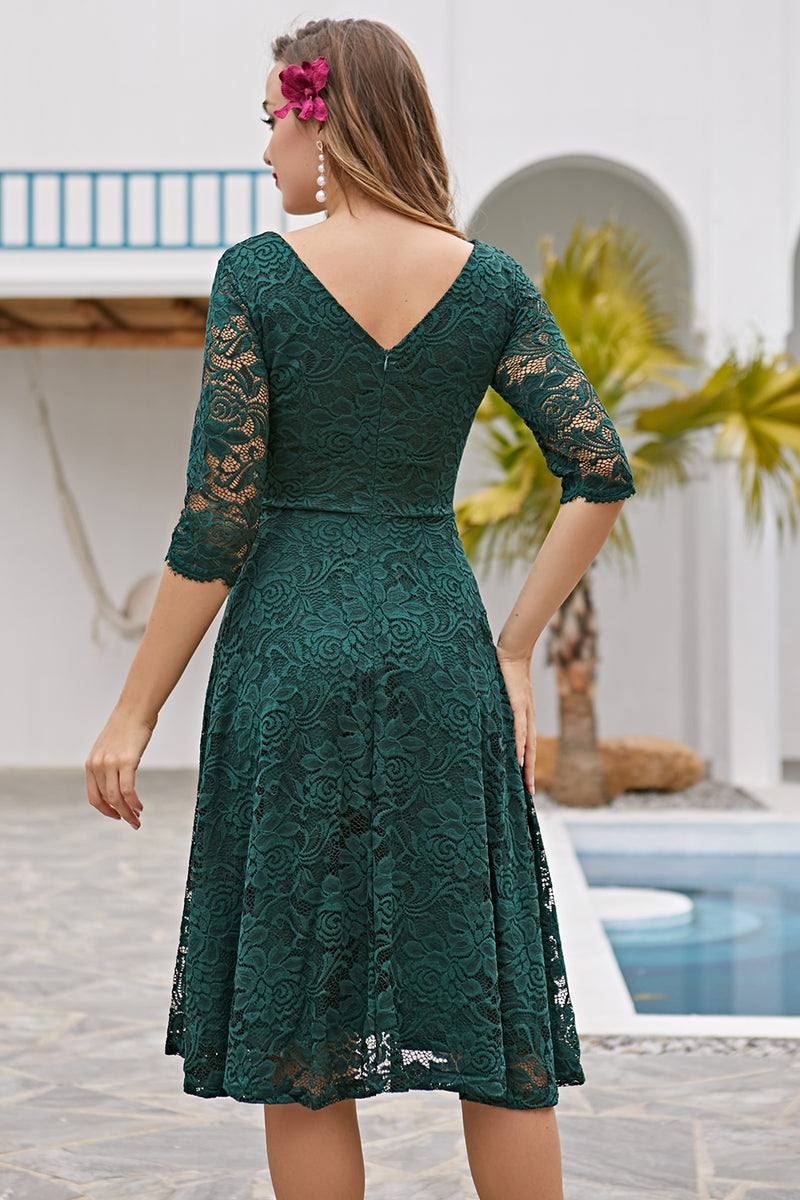 Load image into Gallery viewer, Lace Formal Dress with 3/4 Sleeves