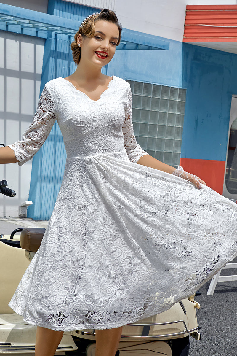 Load image into Gallery viewer, White 3/4 Sleeves Formal Dress
